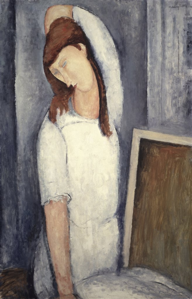 Stock Photo: 1114-1111 Portrait of Jeanne Hebuterne, Left Arm behind Head 