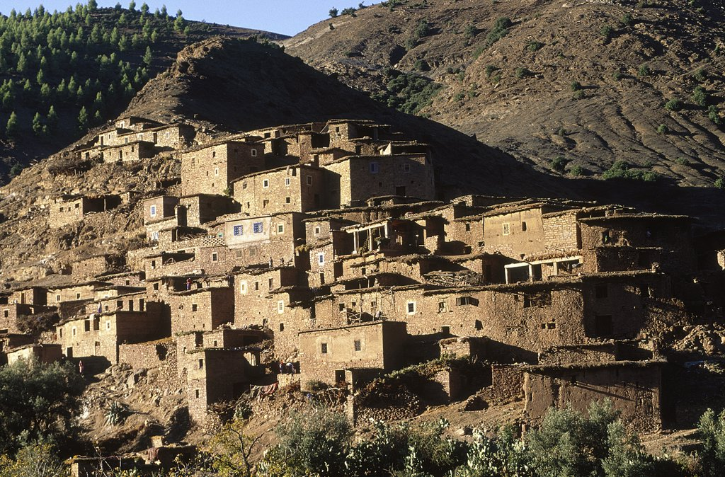 Stock Photo: 1119-1537 Low angle view of old buildings on a mountain, Morocco