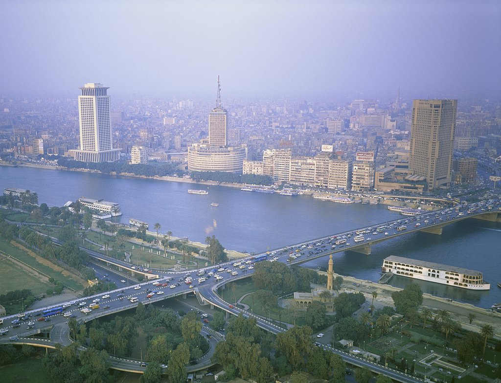 Stock Photo: 1119-1630 Aerial view of a bridge across a river, Cairo, Egypt