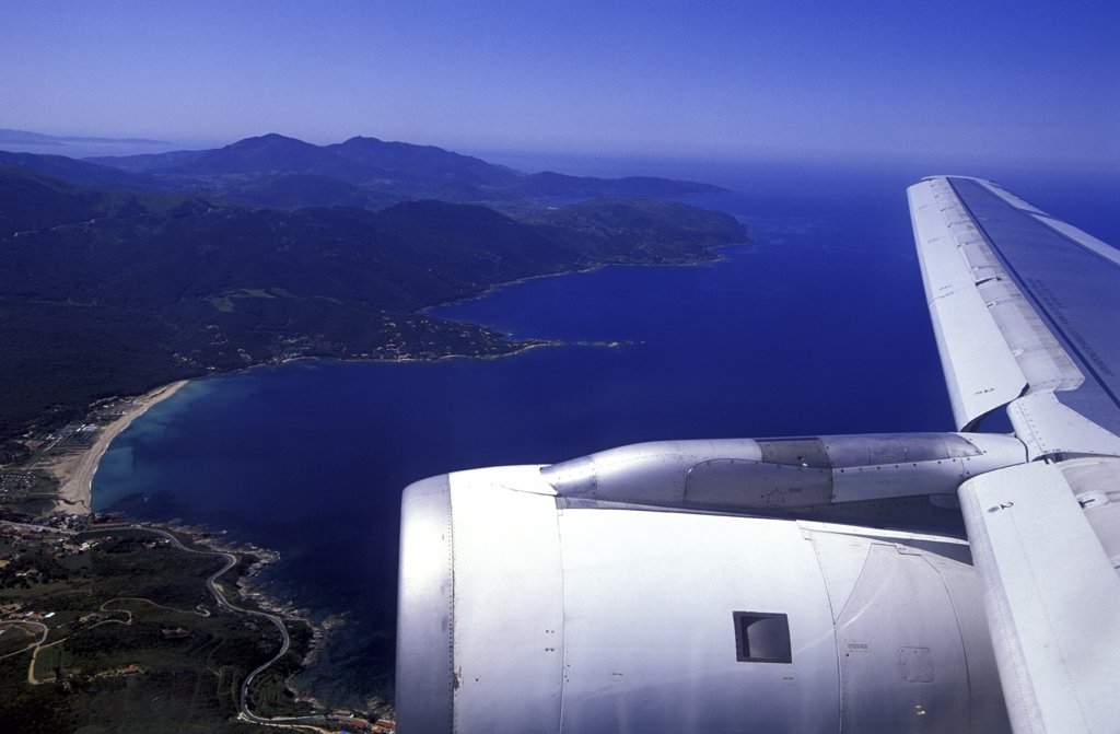 Stock Photo: 1119-1678 High angle view of a beach viewed from an airplane, Corsica, France