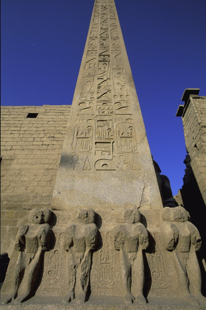 Low angle view of hieroglyphics on a column, Temple Of Luxor, Luxor, Egypt : Stock Photo