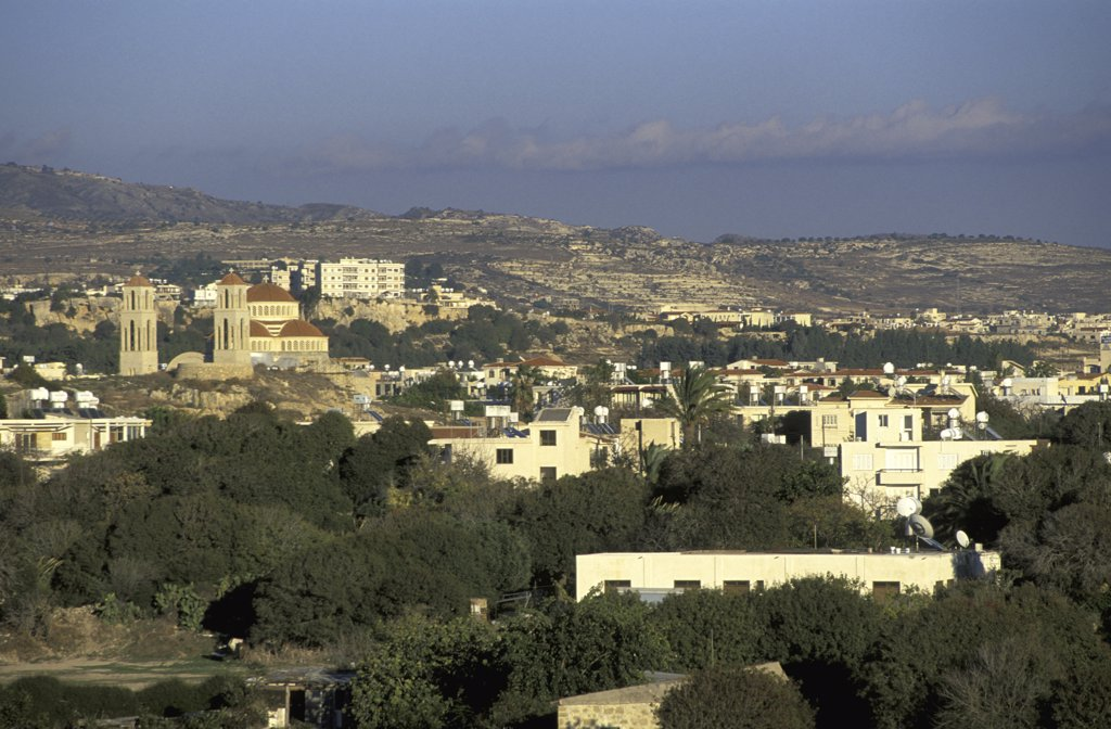 Aerial view of a city, Paphos, Cyprus : Stock Photo