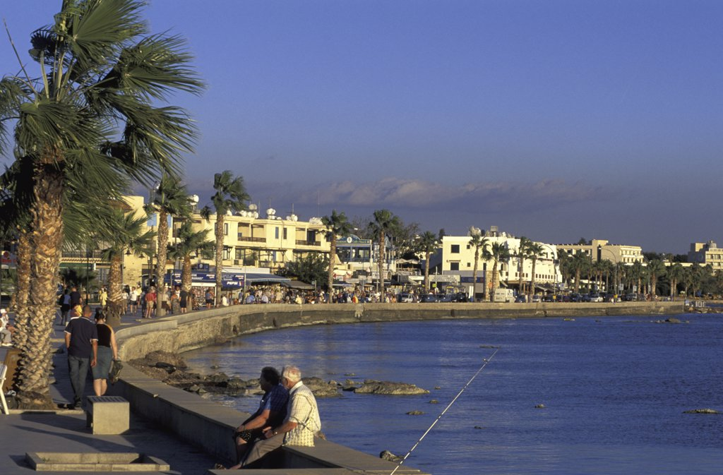 Stock Photo: 1119-1807 People at a beach front, Paphos, Cyprus