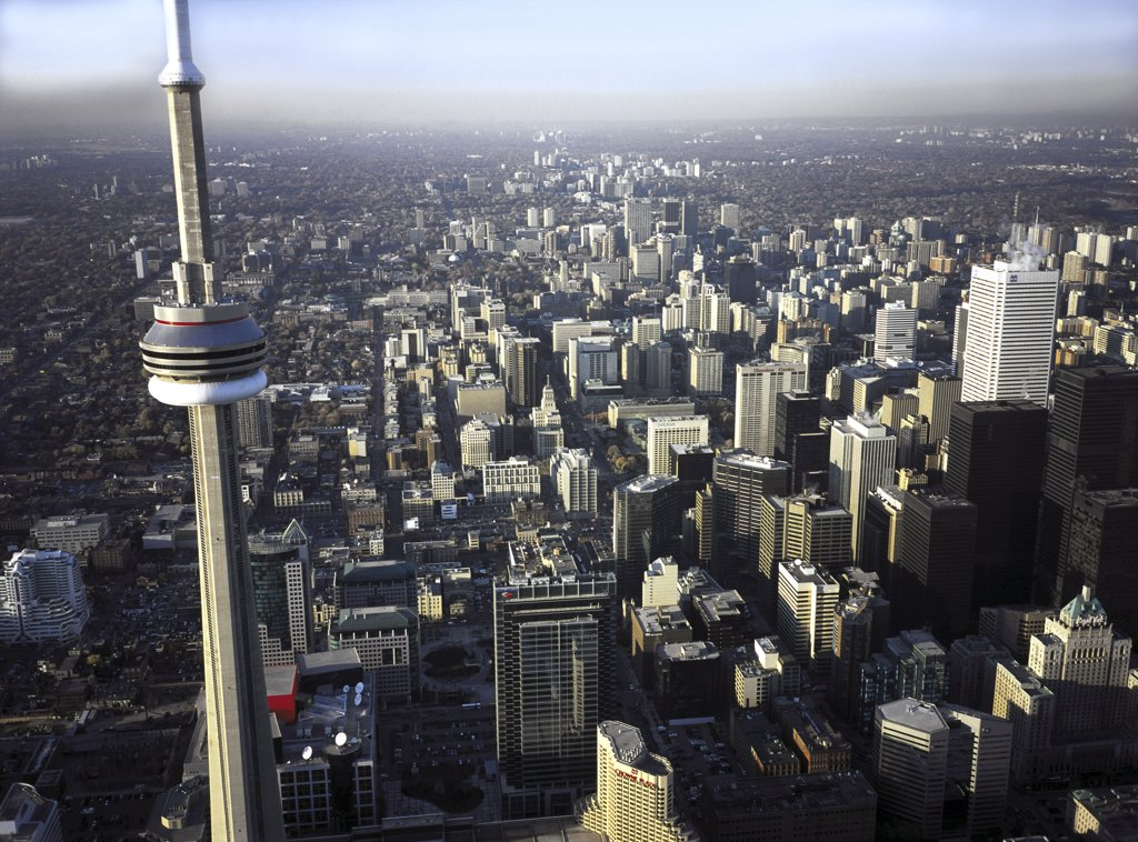 Aerial view of skyscrapers in a city, CN Tower, Toronto, Ontario, Canada : Stock Photo