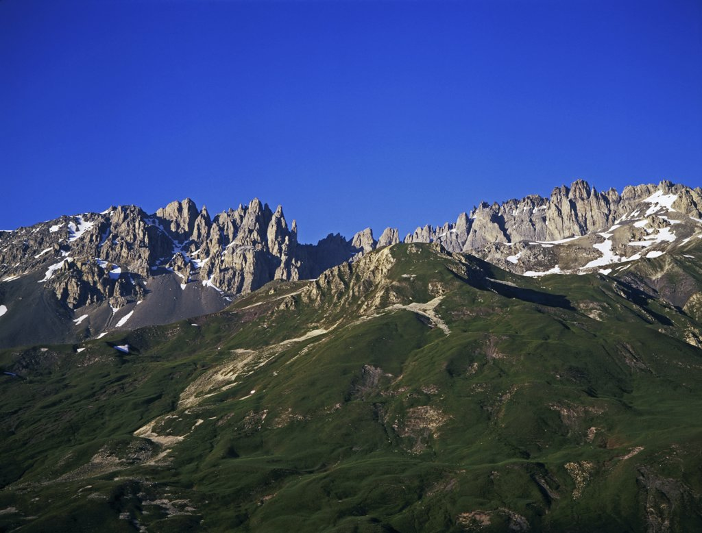Low angle view of mountains, Le Setaz Rocky Mountain, Valloire, France : Stock Photo