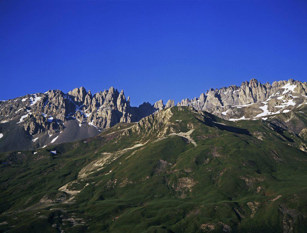Stock Photo: 1119-2012 Low angle view of mountains, Le Setaz Rocky Mountain, Valloire, France