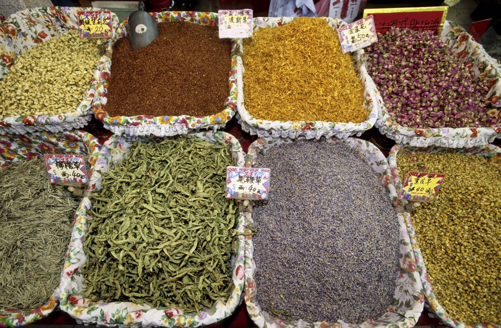 Assorted spices at a market, Taipei, Taiwan : Stock Photo