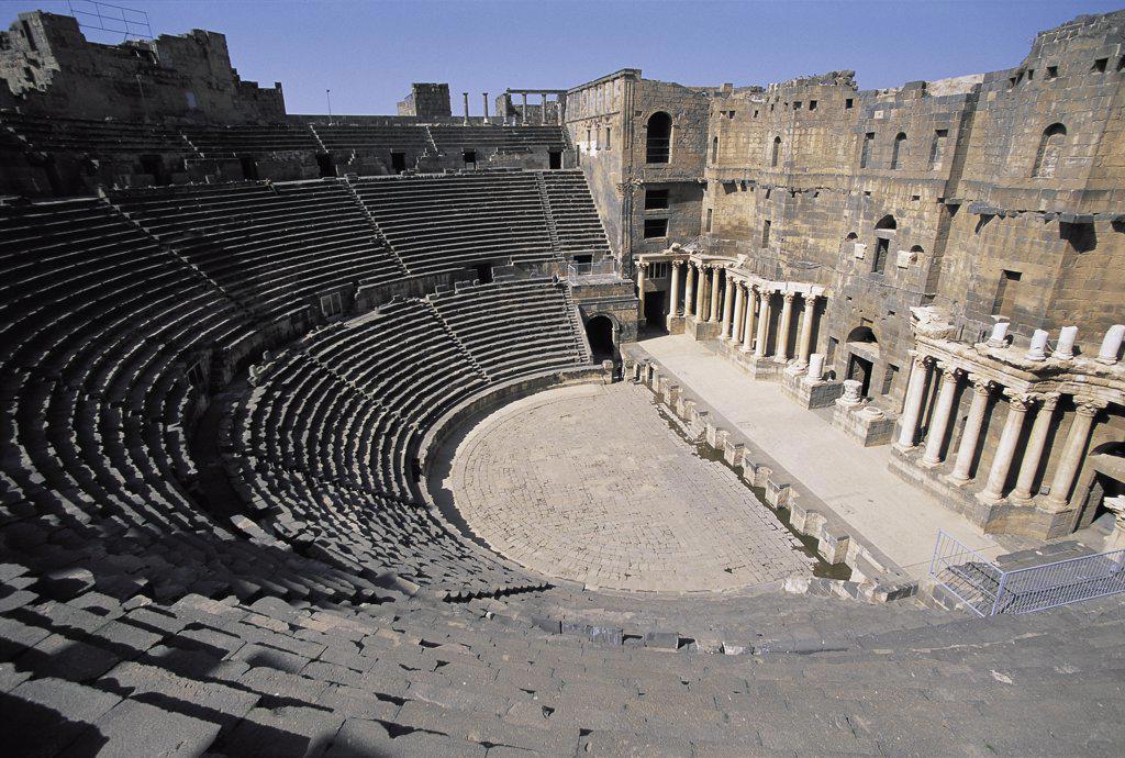 Roman Amphitheater Bosra Syria   : Stock Photo