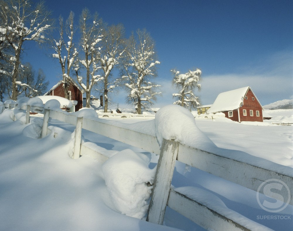 Buildings on a snow covered landscape : Stock Photo