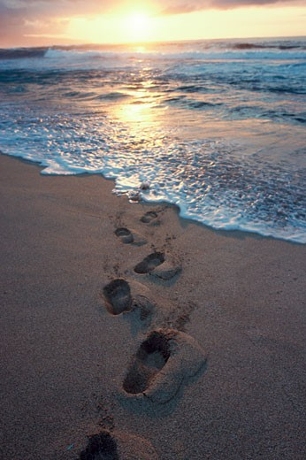 Stock Photo: 112-332 Footprints on the beach at sunset
