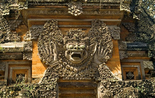 Carvings on the wall of a temple, Besakih Temple, Besakih, Bali, Indonesia : Stock Photo