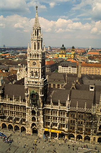 High angle view of a town hall, Munich Town Hall, Marienplatz, Munich, Bavaria, Germany : Stock Photo