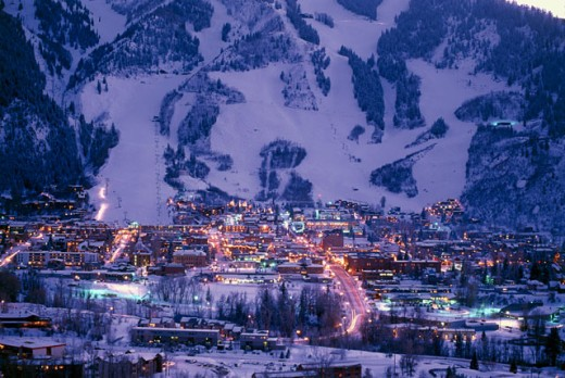 Stock Photo: 112-6094B City lit up night, Aspen, Colorado, USA