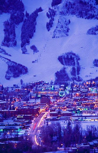 Stock Photo: 112-6094C City lit up night, Aspen, Colorado, USA