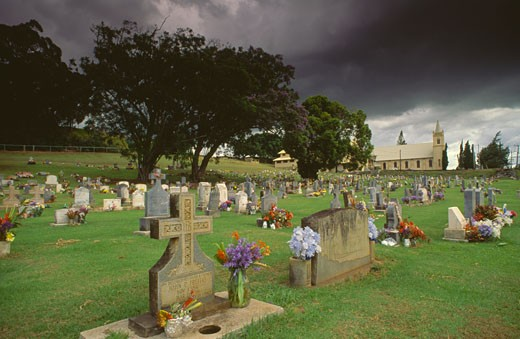 Cemetery and church on a landscape, St. Joseph's Church, Makawao, Maui, Hawaii, USA : Stock Photo