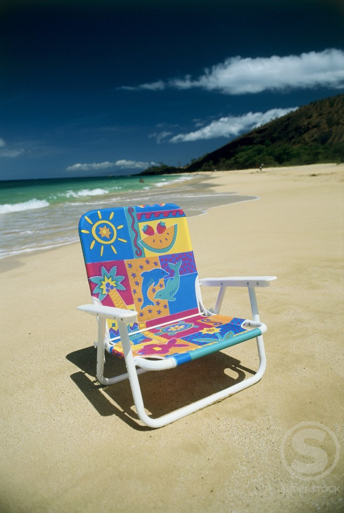 Close-up of an empty chair on the beach, Maui, Hawaii, USA : Stock Photo