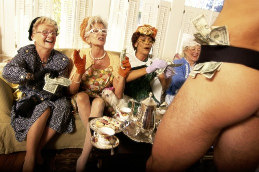 Stock Photo: 1128-453 Three senior women watching a male stripper