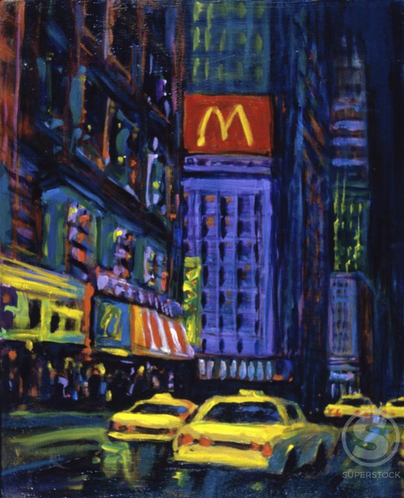 Stock Photo: 1133-26038 Racing Taxis At Night, New York City  Patti Mollica (20th C./American)