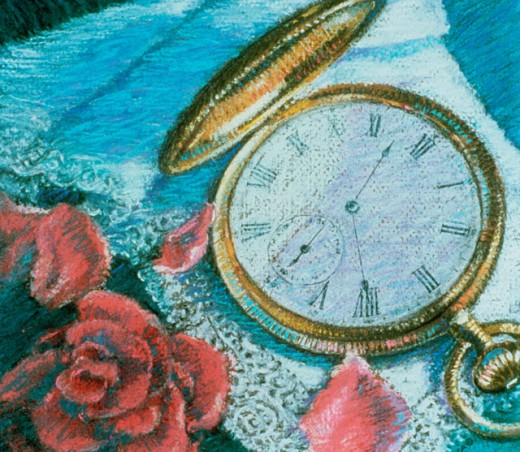 Stock Photo: 1133-26051 Watch & Rose Petals 