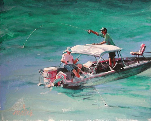 Key West Fishermen 2004 Patti Mollica (b.20th C. American) Acrylic : Stock Photo