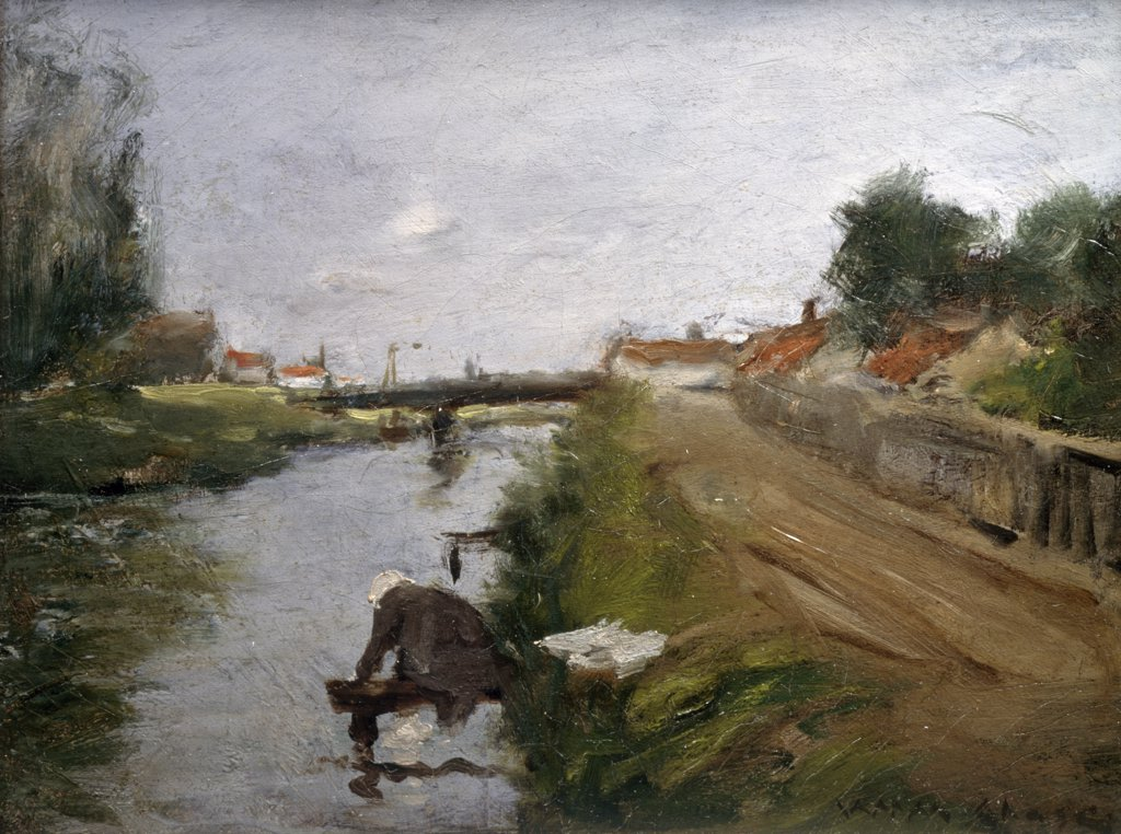 Stock Photo: 1134-623 River Landscape with Figure by William Merritt Chase,  (1849-1916)