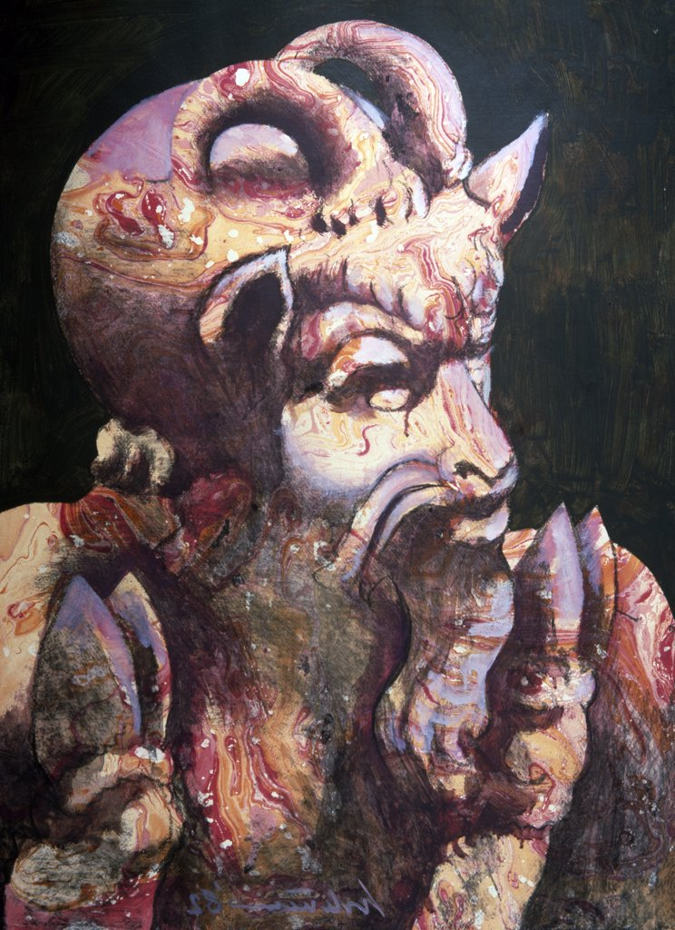 Satyr and Goat by Harold Stevenson, Mixed Media, 1982, (born 1929), USA, Florida, West Palm Beach, Chisholm Gallery : Stock Photo