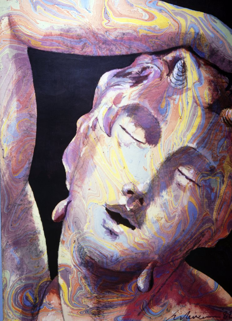 Sleeping Satyr by Harold Stevenson, Mixed media, 1982, (born 1929), USA, Florida, West Palm Beach, Chisholm Gallery : Stock Photo