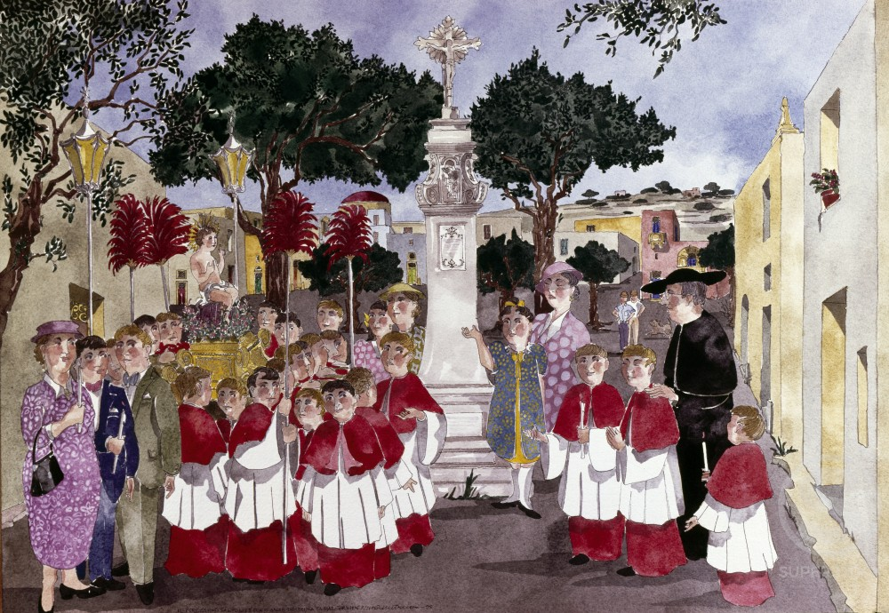 Stock Photo: 1135-26503 Malta, Christmas Procession, by Kenneth Zammit Tabona, pen and ink and gouache, 1995, 1956-Present