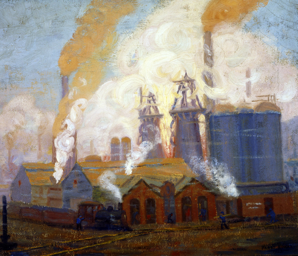 Stock Photo: 1138-229 Lucy Furnace on Allegheny River (Dismantled) by James Bonar,  oil on canvas,  1932,  (1864-1942),  USA,  Pennsylvania,  University Park,  Pennsylvania State University,  College of Earth and Mineral Sciences,  Steidle Collection