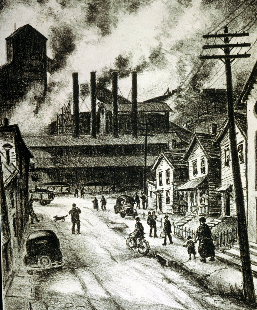 Coal Town by Michael Gallagher,  lithograph,  (b.1945),  USA,  Pennsylvania,  Philadelphia,  Pennsylvania State University,  College of Earth and Mineral Sciences,  Steidle Collection,  1940 : Stock Photo