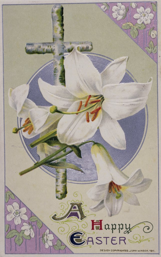 Stock Photo: 1140-133 Happy Easter (Lily with Cross)