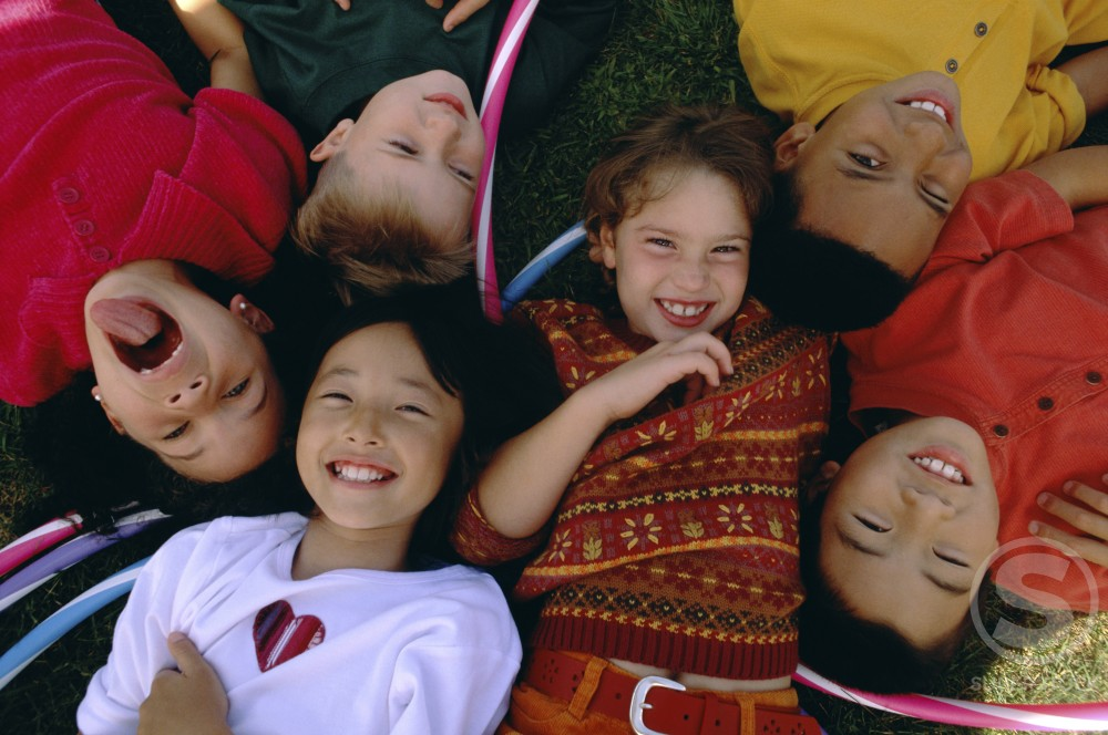 Stock Photo: 1148-141A Portrait of a group of children smiling
