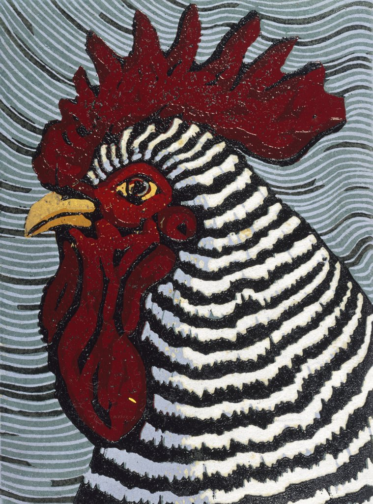 Stock Photo: 1154-48 Rooster by Barry Wilson, woodcut Print, (born 1929)