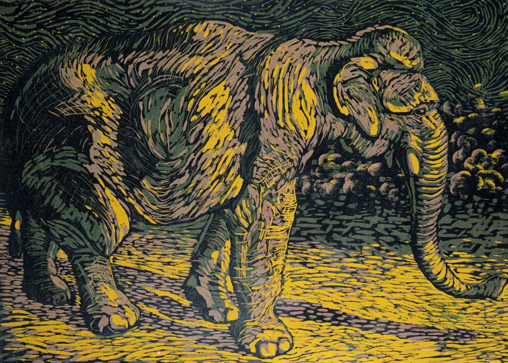 Jo Jo by Barry Wilson, woodcut Print, (born 1929) : Stock Photo