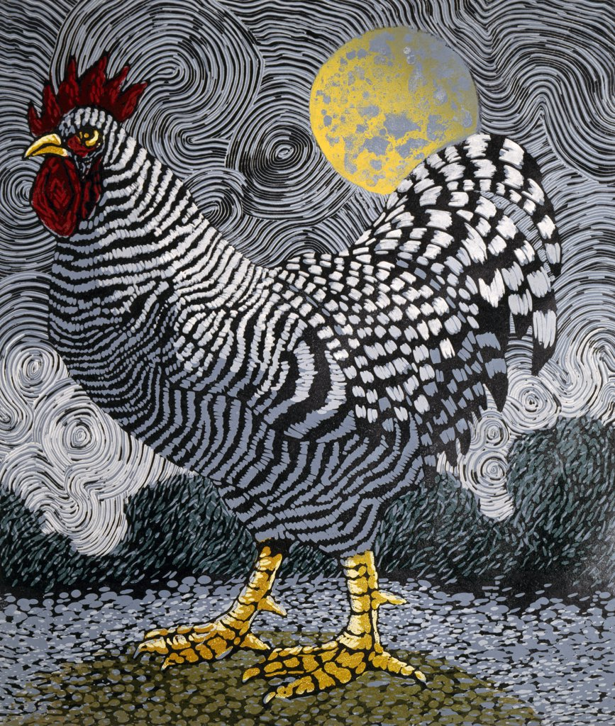 Stock Photo: 1154-51 Rooster and Moon II by Barry Wilson, woodcut print, (born 1929)