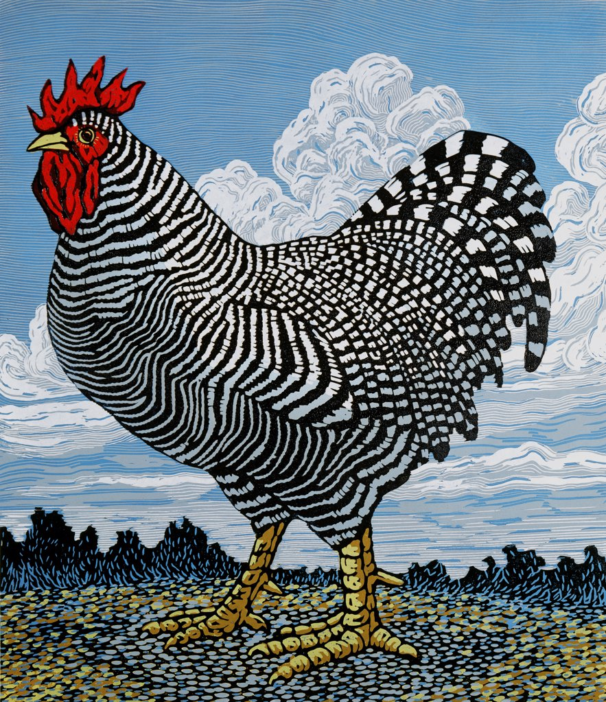 Stock Photo: 1154-54 Rooster and Clouds  Barry Wilson (b.1961 American) Woodcut print