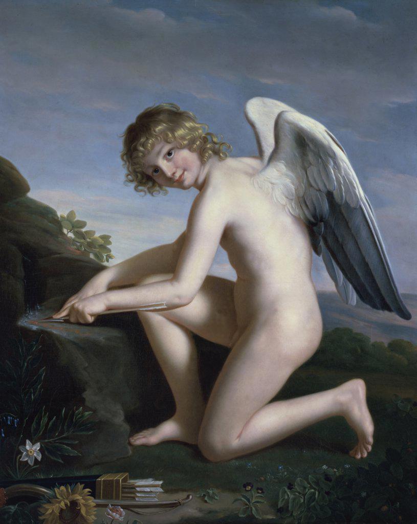 Stock Photo: 1158-1052 Cupid Sharpening his Arrows  (L'amour Aiguisant ses Fleches)  Jules Joseph Lefebvre (1836-1912/French)  Musee des Beaux-Arts, Rouen