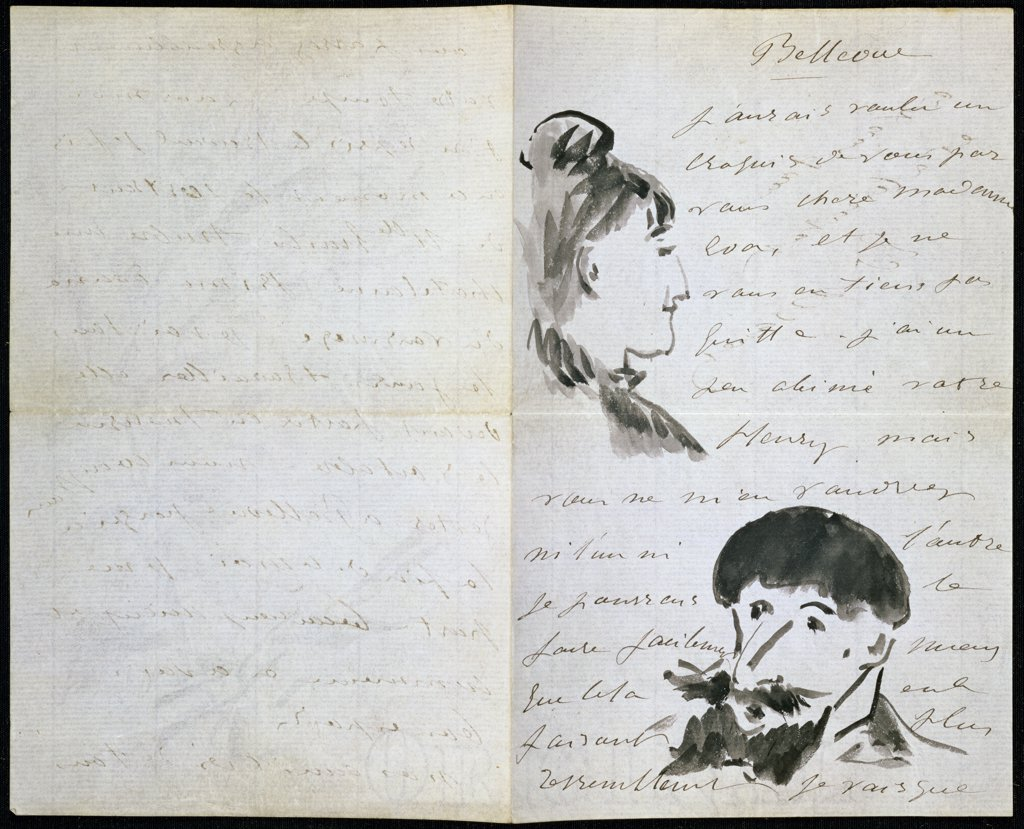 Handwritten Letter by Manet with Drawings 