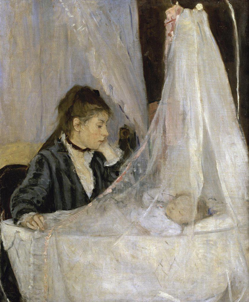 Stock Photo: 1158-1142 The Cradle (Le berceau)  1872  Berthe Morisot (1841-1895/French)  Musee d'Orsay, Paris