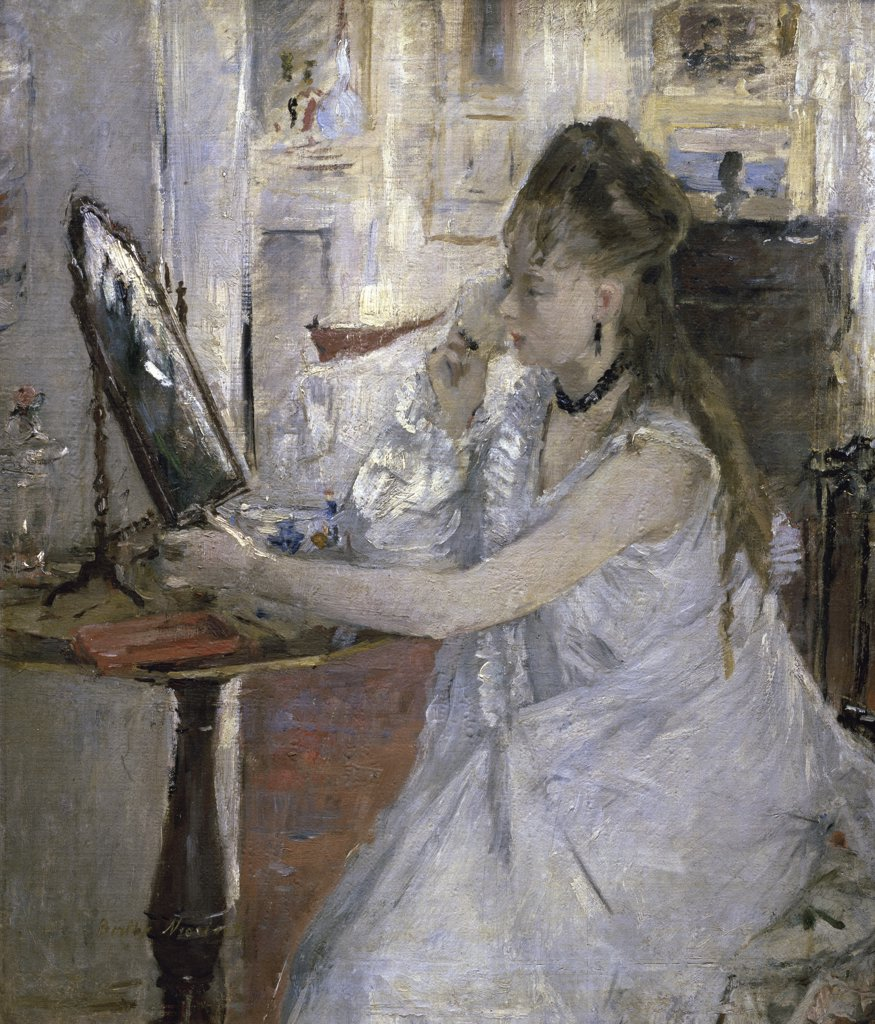 Stock Photo: 1158-1143 Young Woman Powdering Herself 