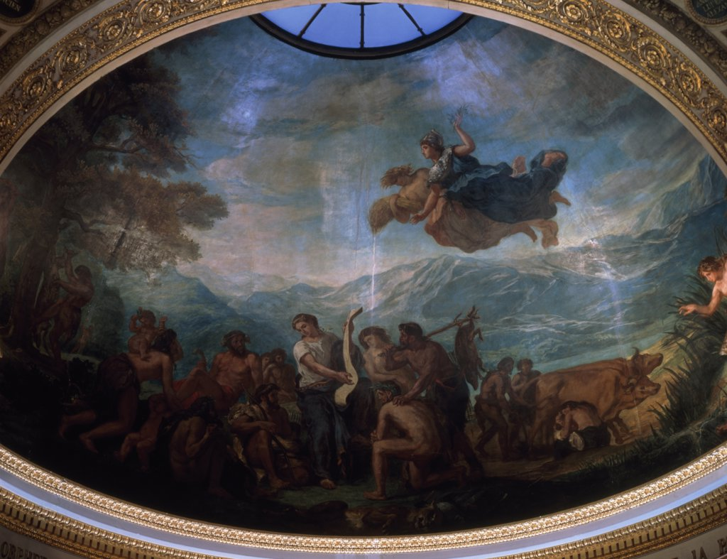 Stock Photo: 1158-1153 France, Paris, Bibliotheque Du Palais Bourbon, La Culture by Eugene Delacroix, fresco, (1798-1863)