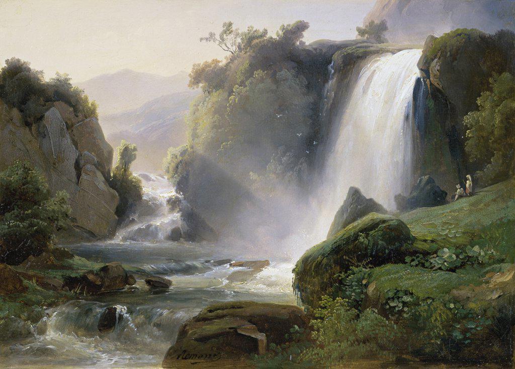 Stock Photo: 1158-1185 Tivoli Waterfall  (Cascade de Tivoli)  c. 1822  Jean Charles Joseph Remond (1795-1875/French)  Musee des Beaux-Arts, Rouen