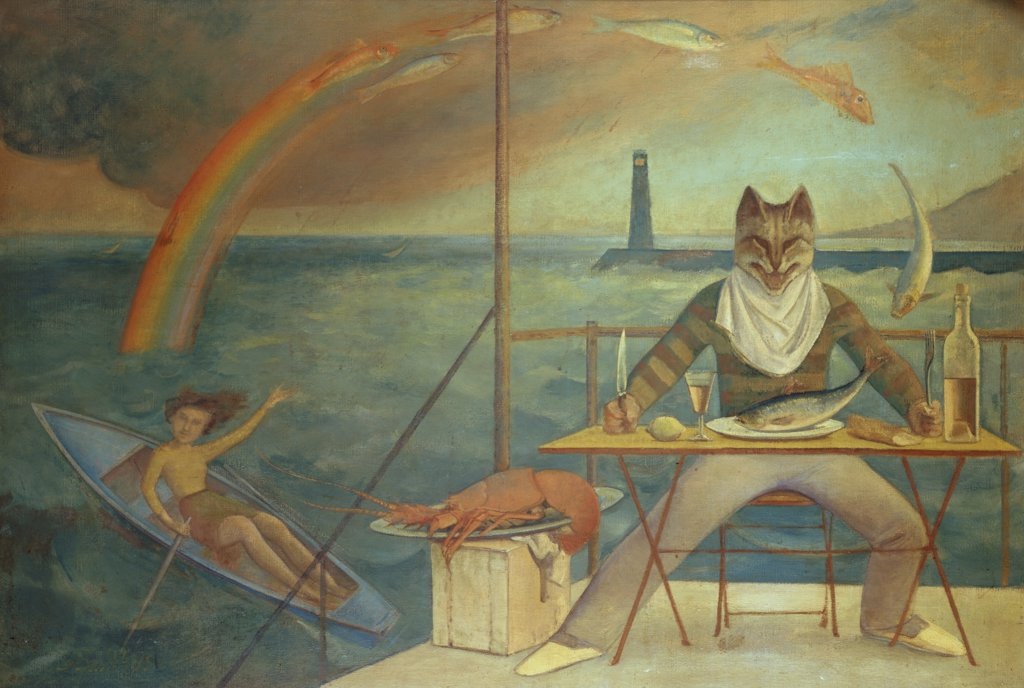 Stock Photo: 1158-1193 Mediterranean Cat by Balthus, circa 1949, born 1908, Collection Jean Subrenat