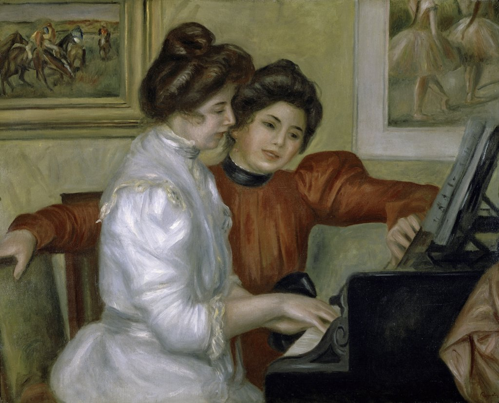 Stock Photo: 1158-1267 Yvonne and Christine Leroll at the Piano 