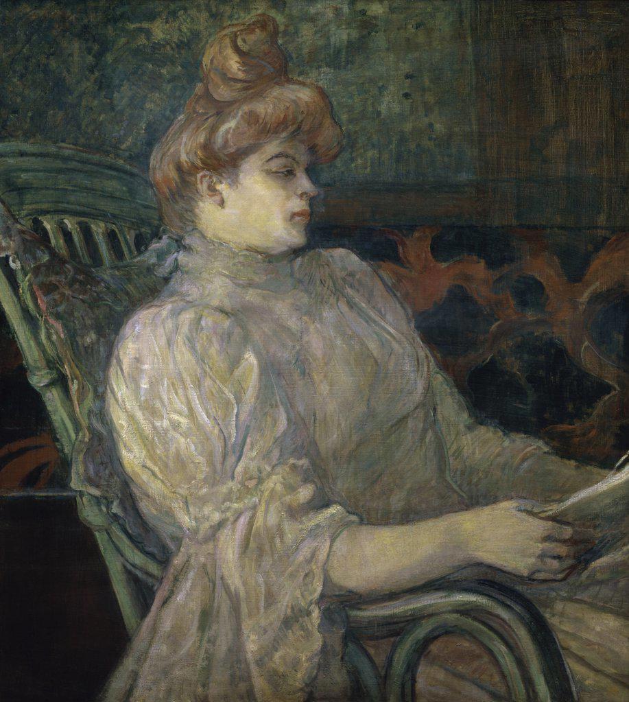 Stock Photo: 1158-1331 Woman Reading  (Femme Lisant)  Henri de Toulouse-Lautrec (1864-1901/French)  Annenberg Collection, Palm Springs