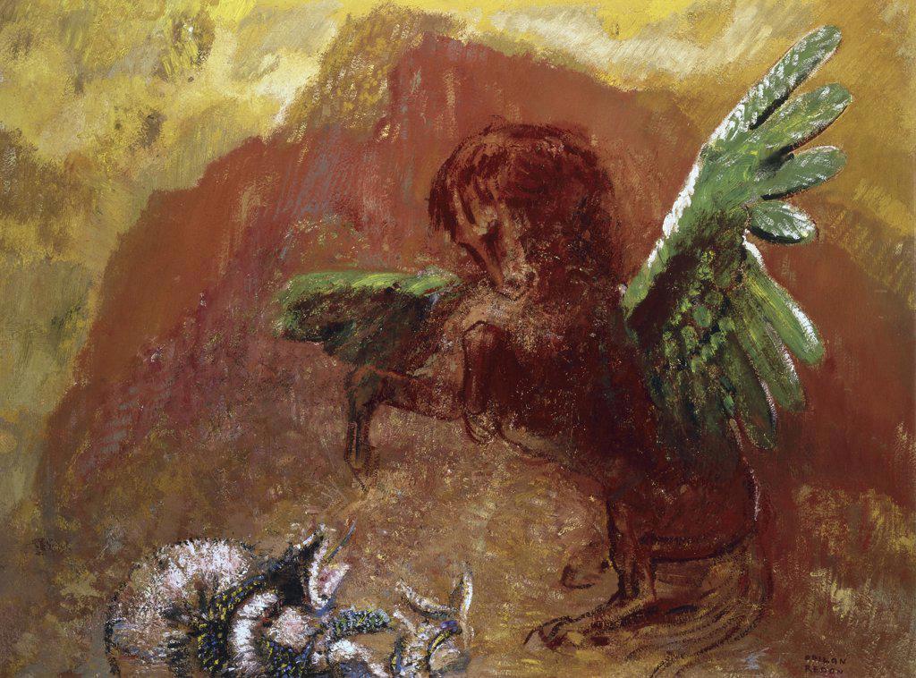 Stock Photo: 1158-1345 Pegasus and Hydra  (Pegase et l'Hydre)  1905  Odilon, Redon (1840-1916/French)  Rijksmuseum Kruller-Muller, Otterlo, Netherlands