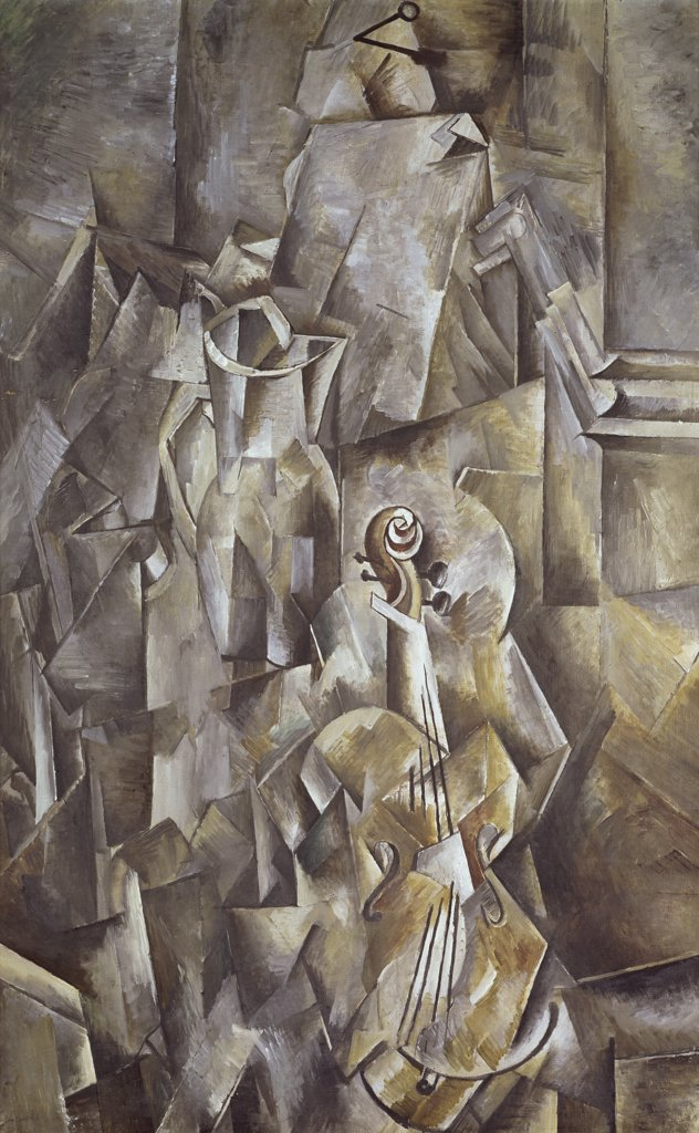 Still Life: Violin and Pitcher by Georges Braque, 1910, 1882-1963, Switzerland, Musee de Bale : Stock Photo
