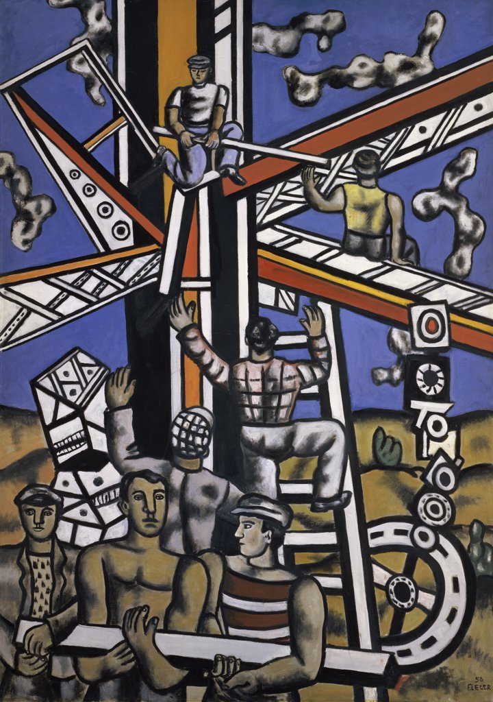 Stock Photo: 1158-1492 Workers on the Construction Site by Fernand Leger, 1950, 1881-1955, France, Paris, Collection Maeght