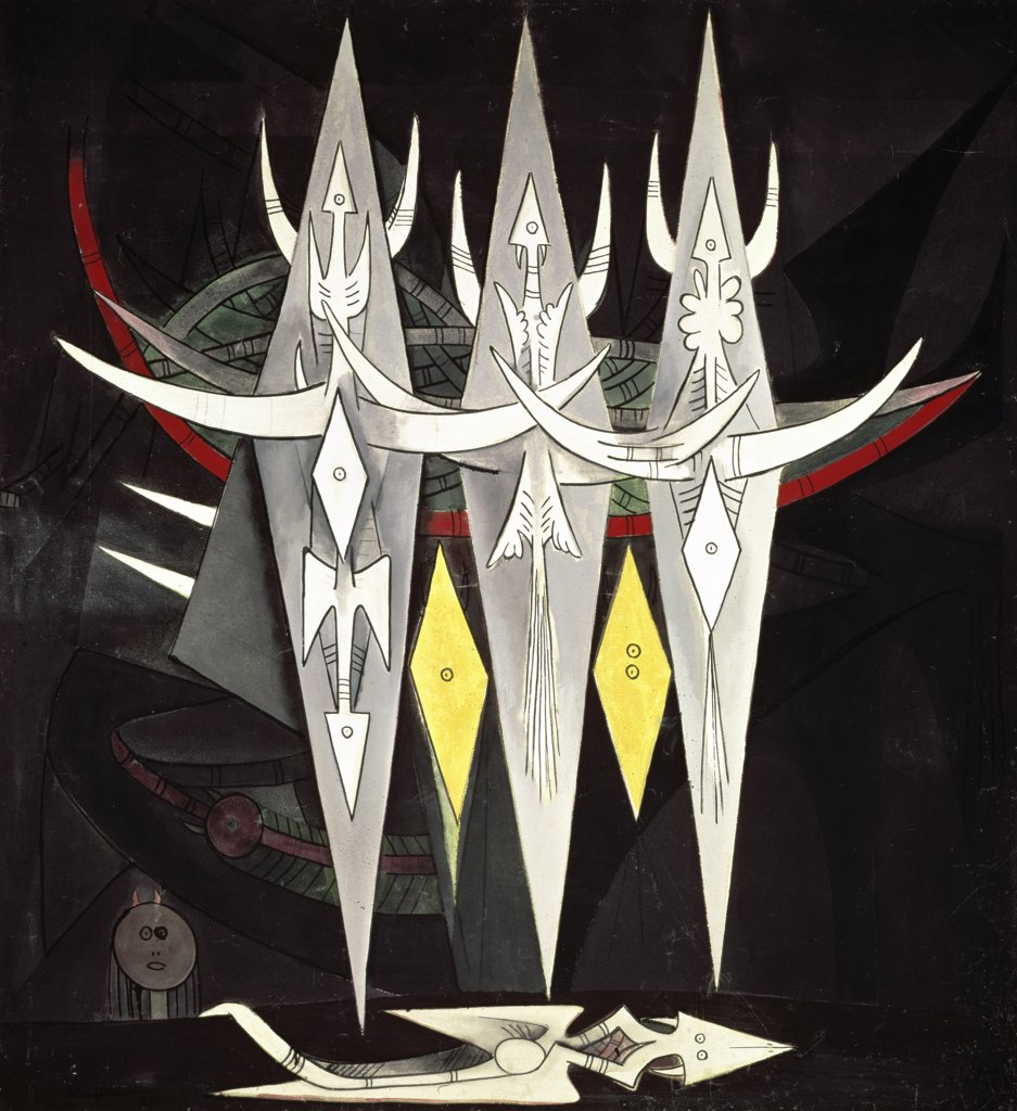 Threshold by Wifredo Lam, 1949-1950, 1902-1982, France, Paris, Musee National d'Art de Moderne : Stock Photo