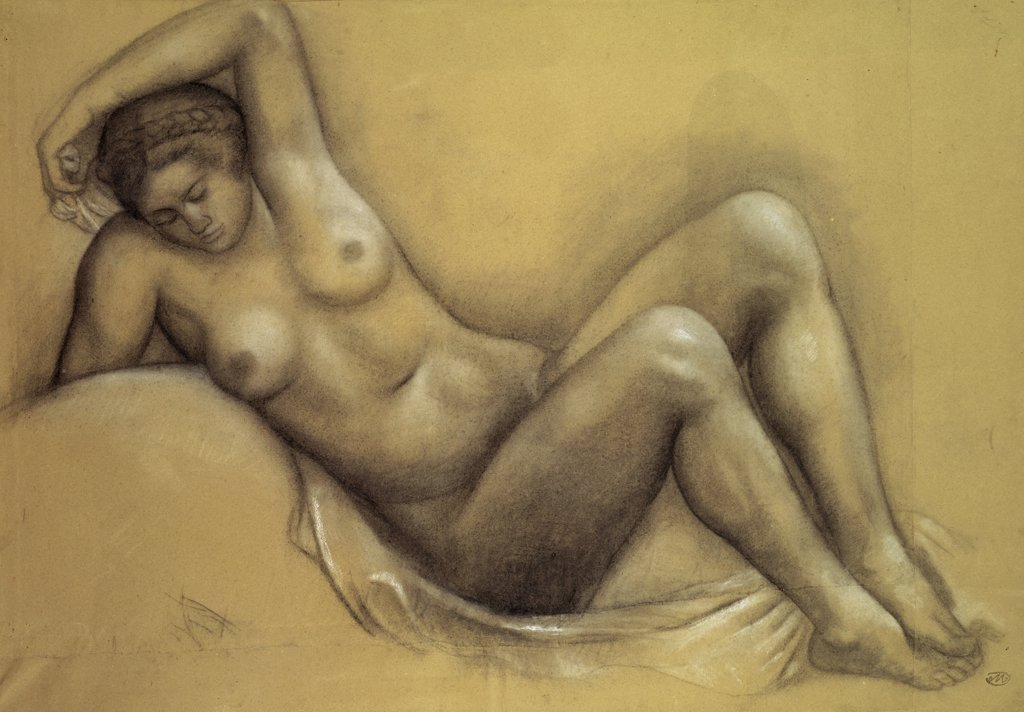 Stock Photo: 1158-1525 Nude by Aristide Maillol, 1861-1944, France, Paris, Collection of Dina Verny